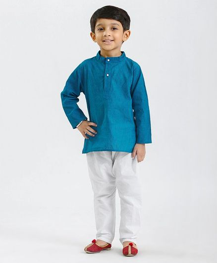 Babyhug Full Sleeves Striped Kurta & Pajama Set - Blue White