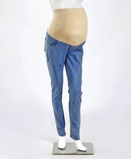 Kriti Full Length Denim Maternity Jeans With Tummy Hug - Light Blue