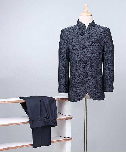 Babyoye Party Wear Full Sleeves Woven Coat And Trouser - Navy & Black