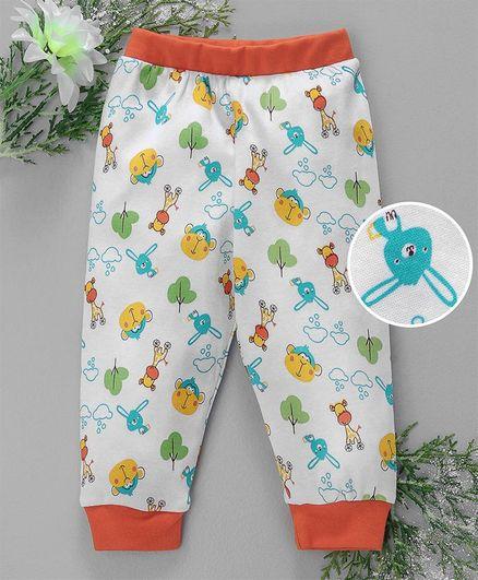 Babyhug Full Length Lounge Pant Animal Print - White Orange