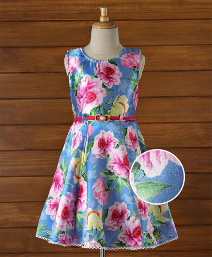 cd1a4378f988 Buy Enfance Satin Floral Printed Frock Blue for Girls (3-4 Years ...