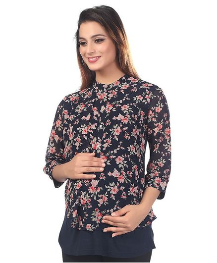 Kriti Three Fourth Sleeves Maternity Nursing Top Floral Print - Navy Blue