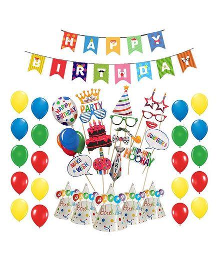 Party Propz Birthday Celebration Combo Kit - Multicolour