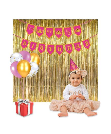 Party Propz Half Birthday Decorations Combo Pack Pink