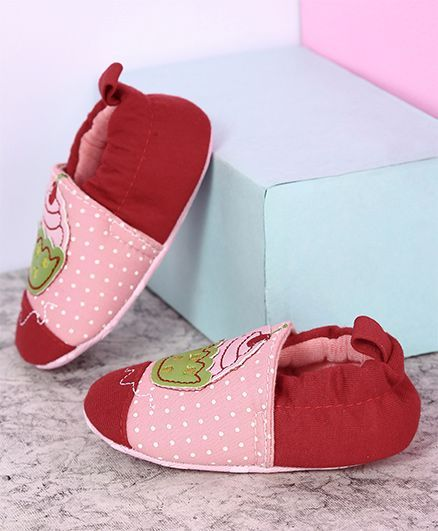 Buy Kidlingss Ice Cream Applique Booties Light Pink   Red for Girls (3 ... 60e412d4adb1