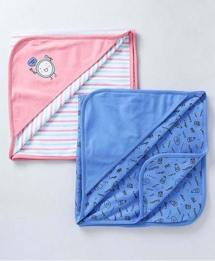 Babyoye Hooded Wrappers Bottle Print Pack of 2 - Pink Blue