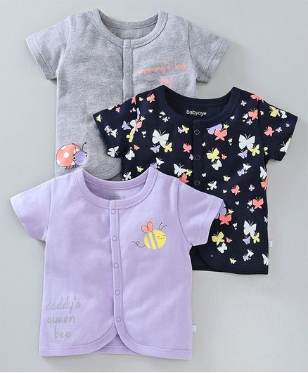 Babyoye Half Sleeves Vest Butterfly Print Pack of 3 - Purple Grey   Navy eeb77d46e8f