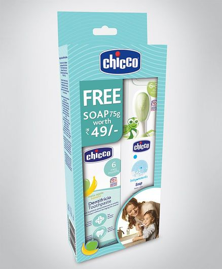 Chicco Oral Care Combo Pack of Toothpaste & Toothbrush - Green