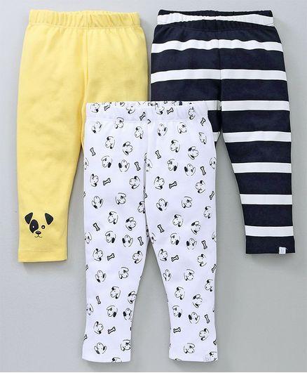 Babyoye Full Length Leggings Pack of 3 - White Yellow Navy Blue