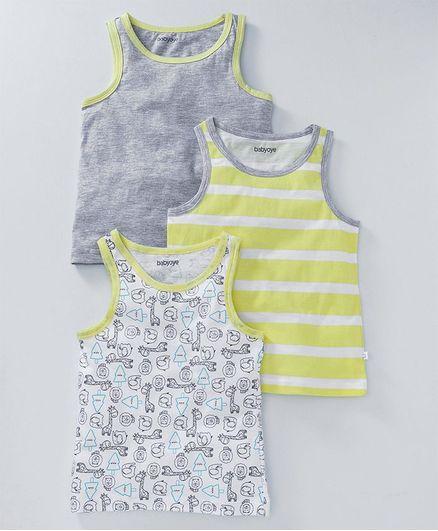 Babyoye Sleeveless Striped & Giraffe Print Vests Set of 3 - Yellow Grey