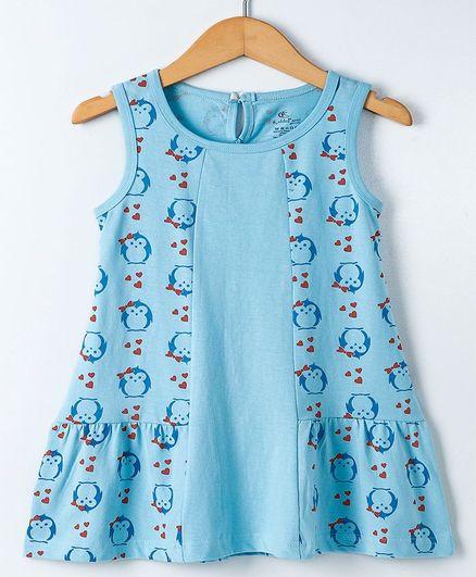 Kiddopanti Sleeveless Frock Penguin Print - Light Blue