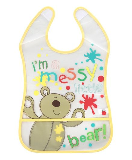 Mee Mee Water Resistant Bib With Pocket Bear Print - Yellow