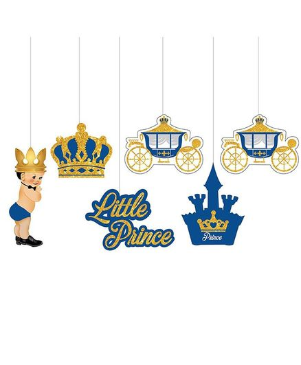 Party Propz Prince Theme Hanging Birthday Decoration Blue Golden - Pack of 6