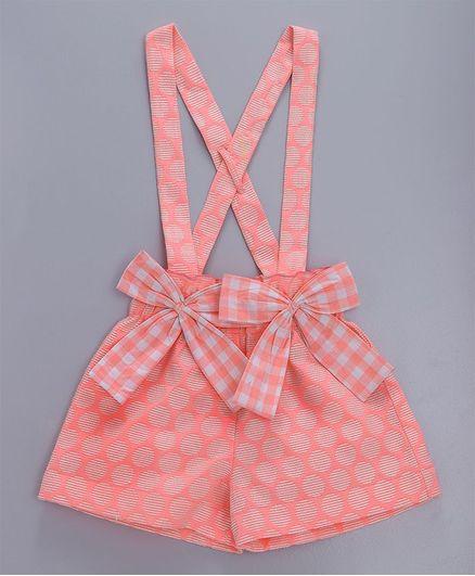 Silverthread Checks Printed Suspender Shorts - Peach