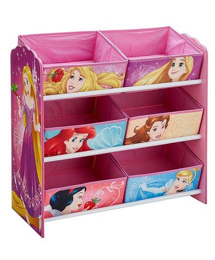 Disney Princess 6 Compartment Wooden Storage Unit - Pink