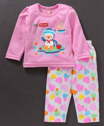 Baby Naturelle & Me Full Sleeves Tee And Lounge Pant Penguin & Hearts Print - Pink