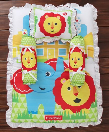 Fisher Price Mattress Set Lion & Elephant Print Multi Colour - 4 Pieces