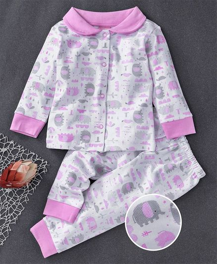 Baby Naturelle & Me Full Sleeves Night Suit Elephant Print - Pink