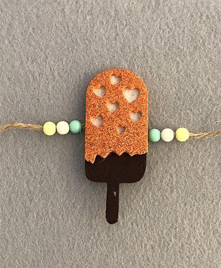 Kalacaree Melting Icecream Theme Rakhi - Orange & Brown