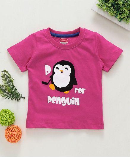 Babyhug Half Sleeves Tee P For Penguin Print - Pink