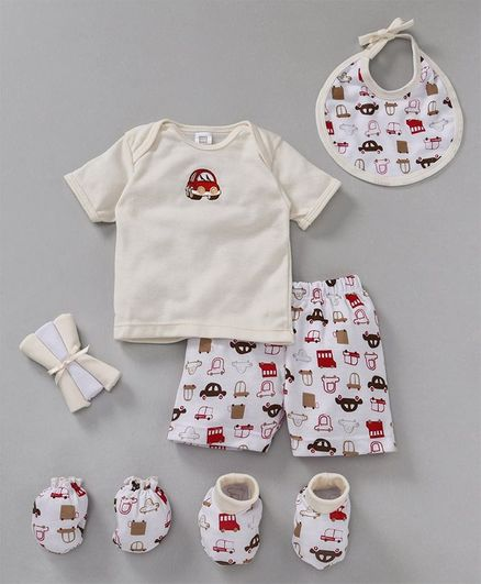 Mee Mee Clothing Gift Set Car Print Pack of 8  - Cream & White
