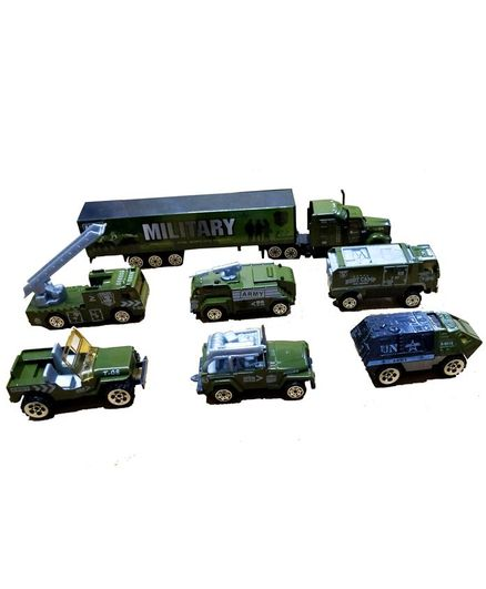 Emob Mini Die Cast Metal Army Military Vehicle Trucks Toys Play Set Green - 7 Pieces