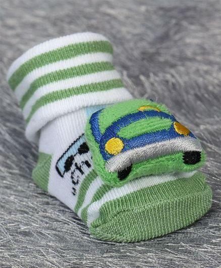 Cute Walk by Babyhug Ankle Length Sock Shoes Car Motif - Green White