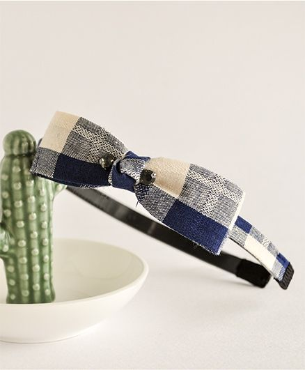 Bobbles & Scallops Check Bow Hairband - Dark Blue