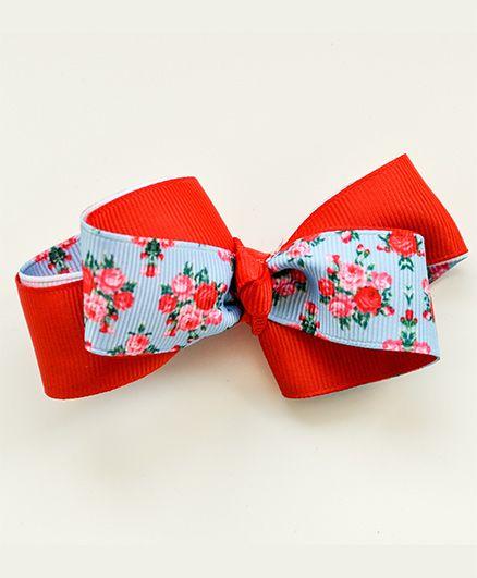 Bobbles & Scallops Floral Boutique Bow - Blue & Orange