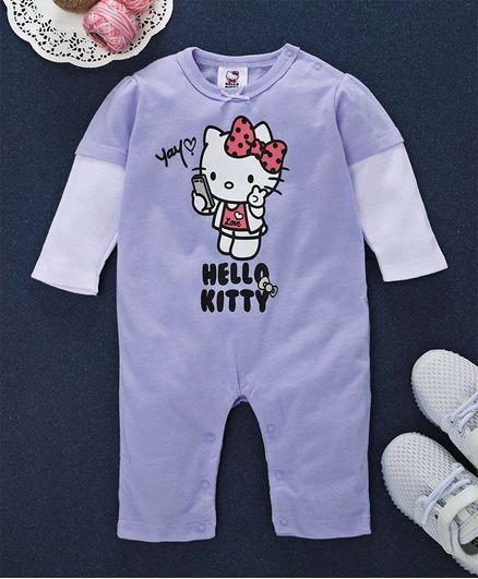 1b8b4ed4f04a Buy Fox Baby Full Sleeves Romper Hello Kitty Print Purple for Girls (3 ...