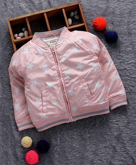 Fox Baby Full Sleeves Jacket Star Print - Light Pink
