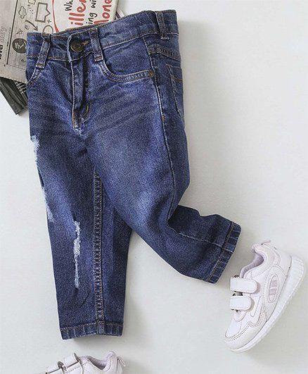 Babyhug Full Length Distress Jeans - Dark Blue