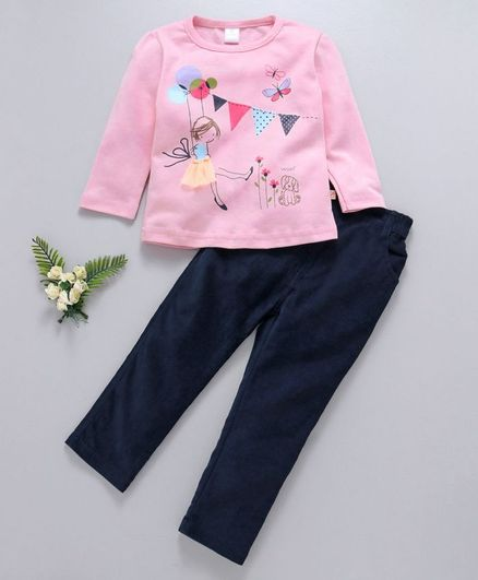 Olio Kids Full Sleeves Tee With Corduroy Pant Butterfly Print - Cream Purple ab49102ddd8