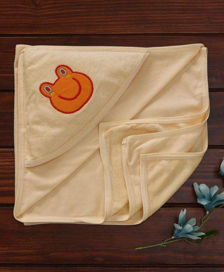 Babyhug Towel With Hood Froggy Embroidery - Yellow