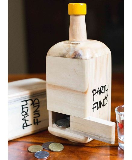 IVEI Wooden Bottle Shaped Party Fund Piggy Bank - Yellow