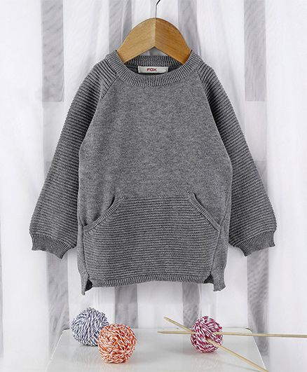 Fox Baby Full Sleeves Winter Wear Tee - Grey