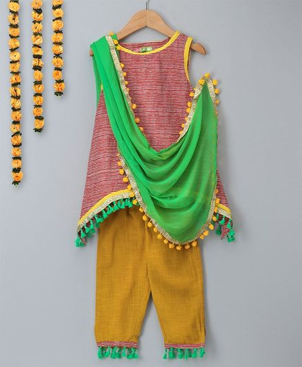 Kids Chakra Stripes Kurta & Salwar Set - Red