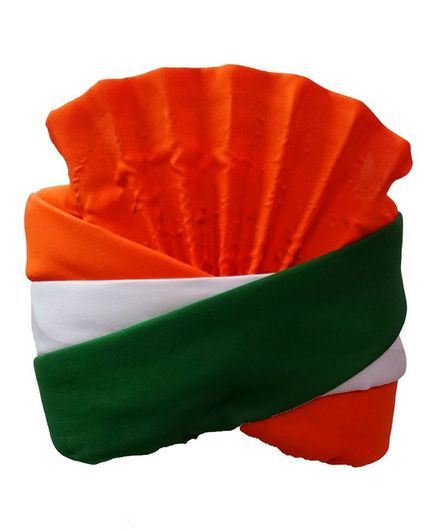 BookMyCostume Tricolor Patriotic Turban Pagdi or Independence and Republic Day - Green White and Saffron