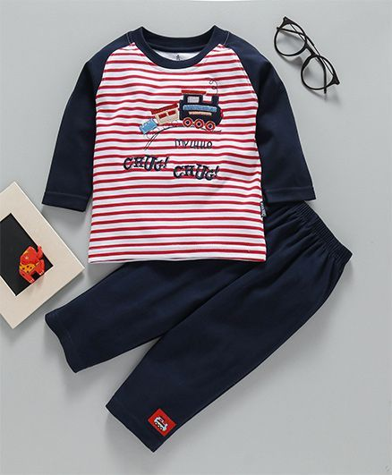 738c59eb4 Buy Child World Full Sleeves Tee & Lounge Pant Set Navy Blue for ...