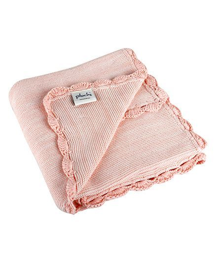 Pluchi Crochet Knitted Cotton Baby Blanket - Pink