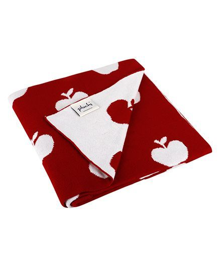 Pluchi Apple Printed Cotton Knitted Baby Blanet - Red