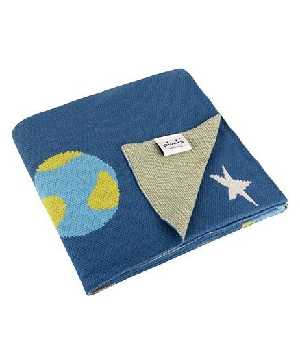 Pluchi Planet & Space Cotton Knitted Baby Blanket - Blue