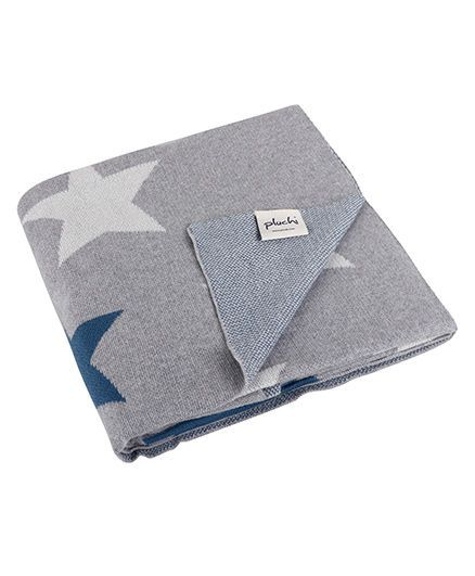 Pluchi Celestial Cotton Knitted Kids Blanket - Grey & Blue