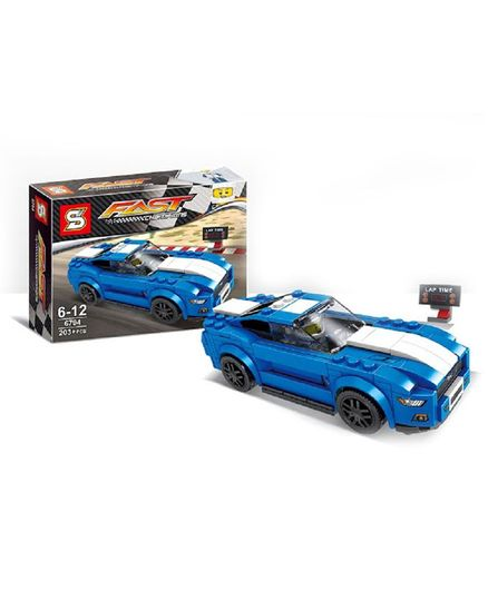 Emob Classic Super Racing Car Theme Building Blocks Set Blue - 203 pieces
