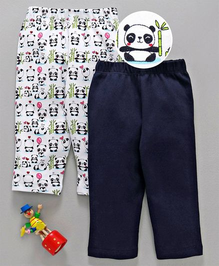 Babyhug Full Length Cotton Lounge Pant Solid Color & Panda Print Pack of 2 - White & Navy Blue