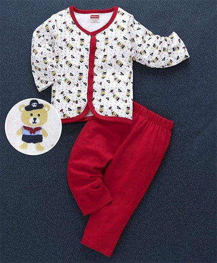 Babyhug Full Sleeves Cotton Night Suit Bear Print - Red White
