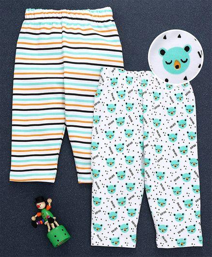 Babyhug Full Length Cotton Lounge Pants Pack of 2 - White Sea Green