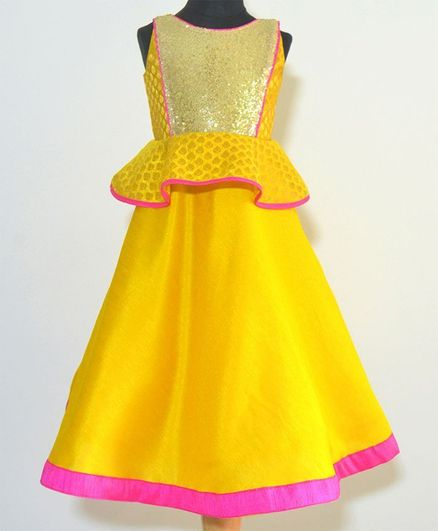 Tutus By Tutu Peplum Ethnic Gown - Yellow