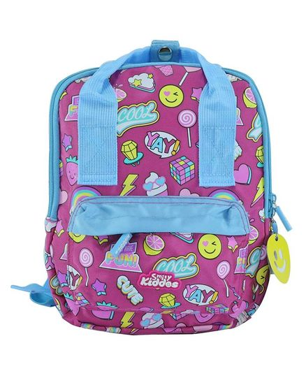5a3f5fea424b Similykiddos School Bag Multiprint Pink Height 9.8 inches Online in ...