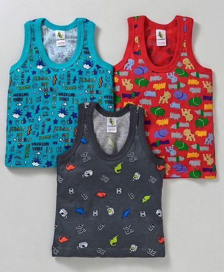 Cucumber Sleeveless Vests Pack of 3 - Blue Yellow Navy Blue